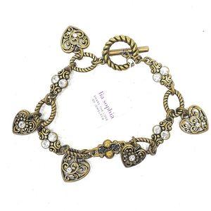 Lia Sophia Heart Charm Bracelet Antiqued Gold NWT